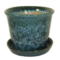 Aqua Green 7 inch Spanish Pot with Saucer