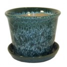"7"" Spanish Pot with Saucer - Aqua Green"