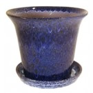 "7"" Spanish Pot with Saucer - Running Cobalt"