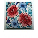 Coasters - Red and Blue Tapestry Flowers - Set of 4