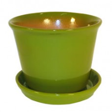 "7"" Spanish Pot with Saucer - Apple Green"